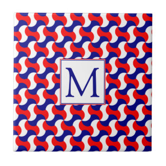 RED WHITE & BLUE RETRO PRINT with MONOGRAM Tile