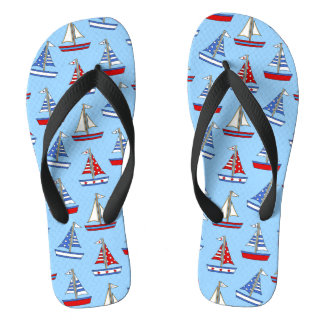 Red, White, Blue Sailboat Flip Flops