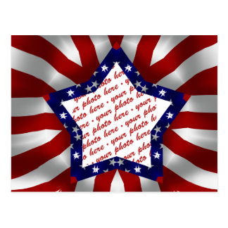 Red White & Blue Satin Star Photo Frame Postcard