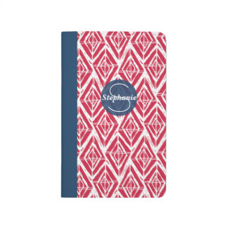 Red White Blue Sketchy Geometric Diamond Pattern Journal