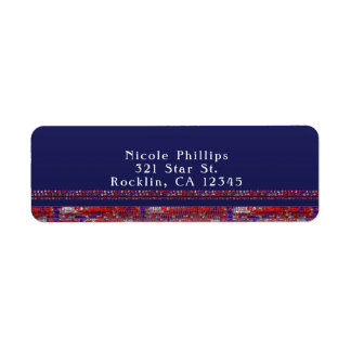 Red White & Blue Sparkle Sequins 4th of July Party Return Address Label