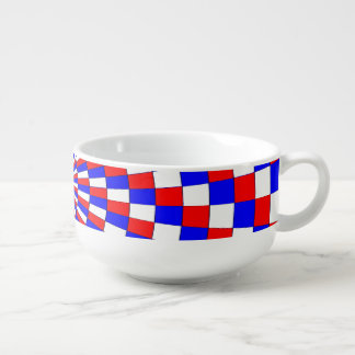 Red White Blue Spiral by Kenneth Yoncich Soup Mug