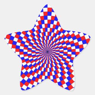Red White Blue Spiral by Kenneth Yoncich Star Sticker