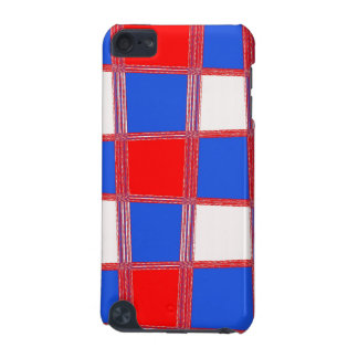 Red, white, blue squares, iPod hard shell case iPod Touch (5th Generation) Cover