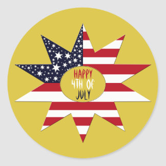 Red White Blue Star Classic Round Sticker