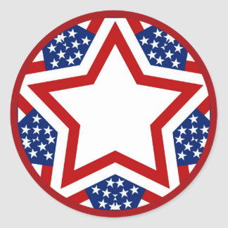 Red White & Blue Star Design to Add Text Classic Round Sticker