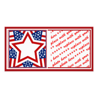 Red White Blue Star Design to Add Text Photo Card