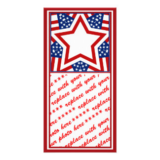 Red White & Blue Star Design to Add Text Picture Card