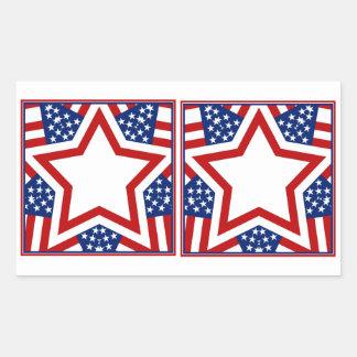Red White & Blue Star Design to Add Text Rectangular Sticker