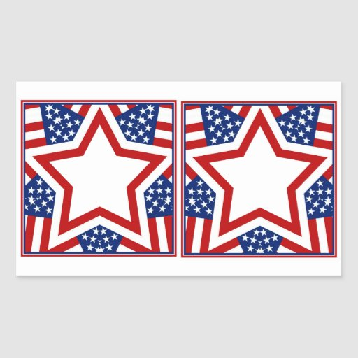Red White & Blue Star Design to Add Text Stickers