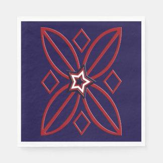 Red White Blue Star Ornament Napkins Paper Napkins