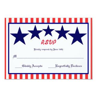 Red White & Blue Star - RSVP Card 9 Cm X 13 Cm Invitation Card