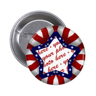 Red White & Blue Star Shaped Photo Frame 6 Cm Round Badge