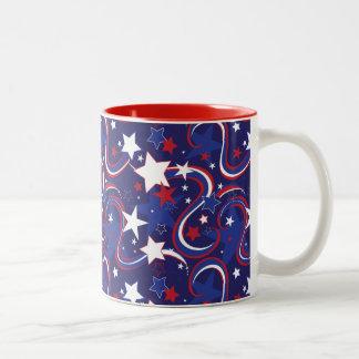 Red White &Blue Star Striped Print Mug