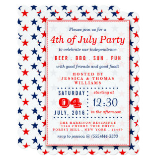 Red, White & Blue Stars 4th Of July Party Card