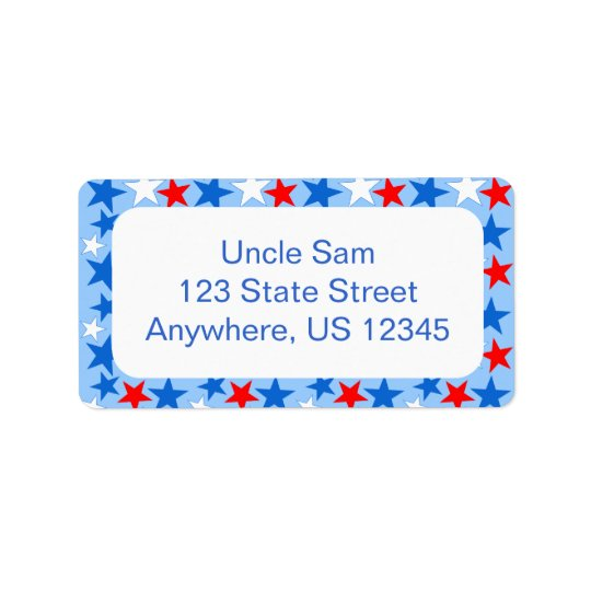 Red White & Blue Stars Address Label