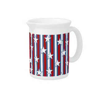 Red White Blue Stars and Stripes Beverage Pitcher