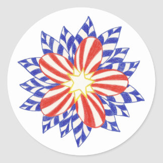 Red White Blue Stars and Stripes Flower Stickers