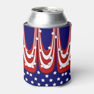Red White Blue Stars and Stripes Patriotic Can Cooler
