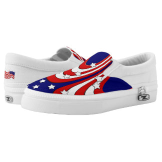 Red White Blue Stars and Stripes Patriotic Slip On Shoes