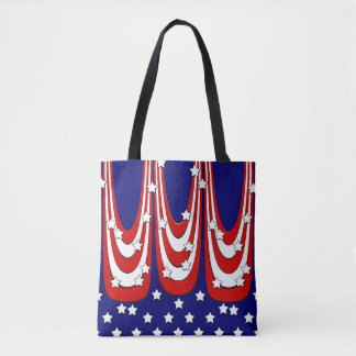 Red White Blue Stars and Stripes Patriotic Tote Bag