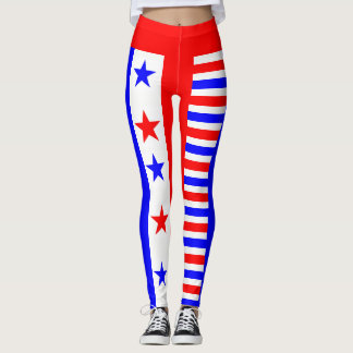 Red White Blue Stars and Stripes Pattern USA Love Leggings