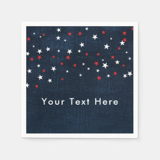 Red White & Blue Stars Denim Custom Party Disposable Napkin