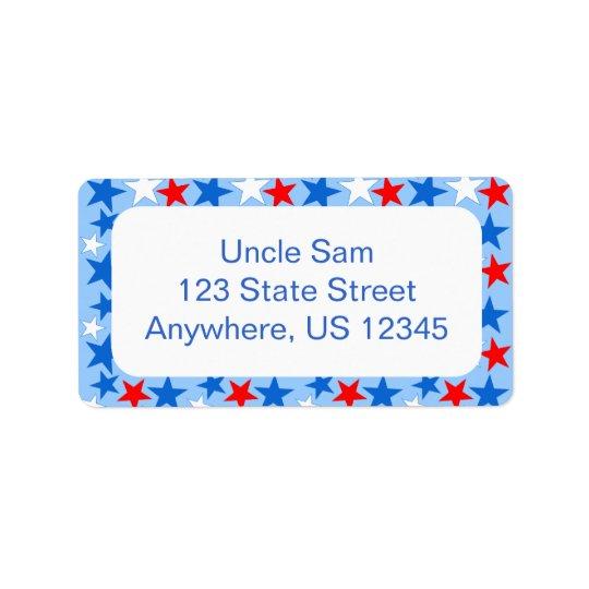 Red White & Blue Stars Label