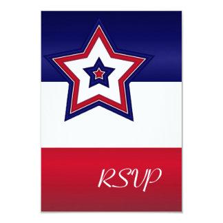 "Red White & Blue Stars RSVP Card 3.5"" X 5"" Invitation Card"