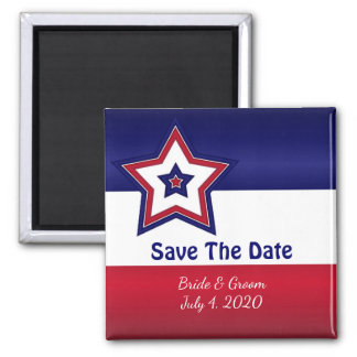 Red White & Blue Stars Save The Date Magnet