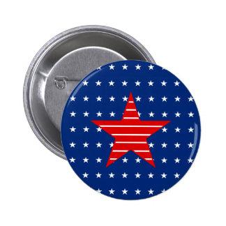 Red white blue Stars stripes Button