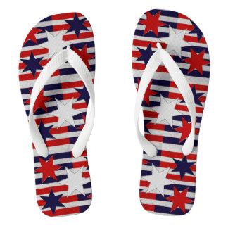 Red White Blue Stars Stripes Flip Flops Thongs