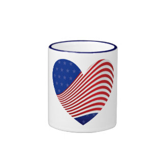 Red White & Blue Stars & Stripes Heart Cup Mugs