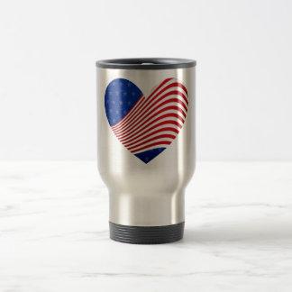 Red White & Blue Stars & Stripes Heart Travel Mugs