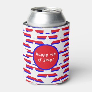 Red White & Blue Stars & Stripes Pattern Can Cooler