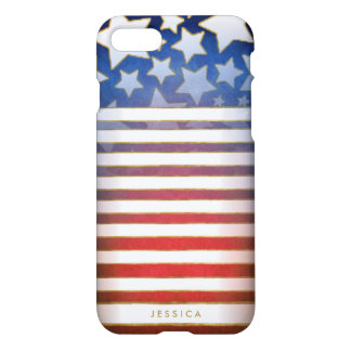 Red White & Blue Stars & Stripes with Name iPhone 7 Case