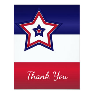 Red White & Blue Stars Thank You Card