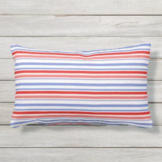 Red, White, Blue Stripe Outdoor Lumbar Pillow