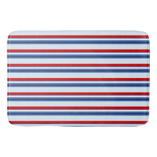 Red White Blue Striped Bath Mat
