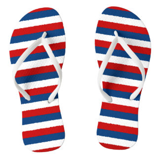 Red White Blue Striped Pattern Thongs