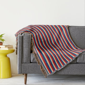 Red White Blue Striped Pattern Throw Blanket