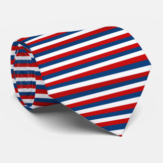 Red White Blue Striped Pattern Tie
