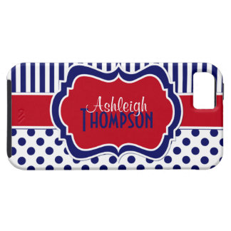 Red, White, Blue Striped Polka Dots iPhone 5 Case