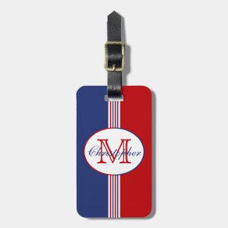 Red White Blue Stripes Monogram Luggage Tag