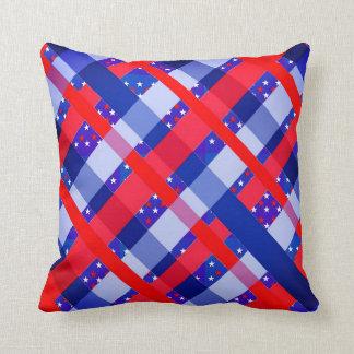 Red White Blue USA Stars Stripes Patriotic Pillow