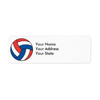 red white blue volleyball return address label