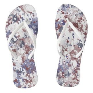 Red White Blue Watercolor Patriotic Abstract Thongs