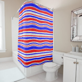 Red White Blue Waving Lines Shower Curtain