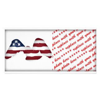 Red White & Blue Winged American Flag Custom Photo Card