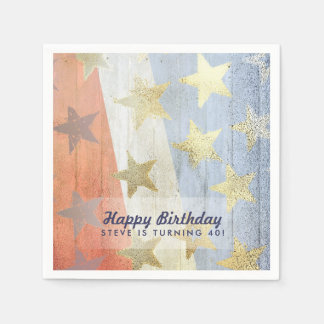 Red White & Blue with Gold Stars Custom Text Disposable Serviettes